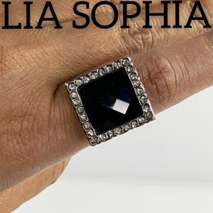 Lia Sophia Faux Onyx Jeweled Costume Ring